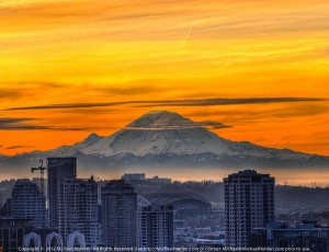 Freezing Frame: Mt. Rainier  and Downtown Seattle at Sunrise (What is Seattle known for?)