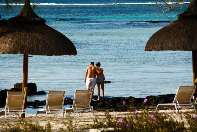 Honeymoon Couple Mauritius beach
